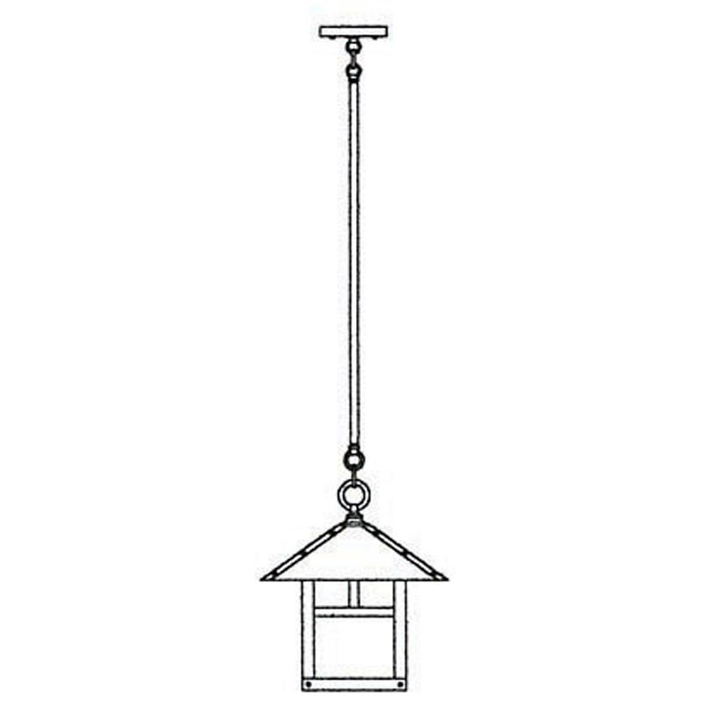 Arroyo Craftsman 12'' Evergreen Stem Hung Pendant With T-Bar Overlay