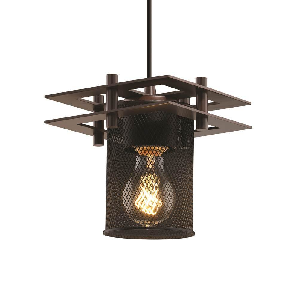 Justice Design Metropolis 1-Light Small Pendant - Square Frame (2 Flat Bars)