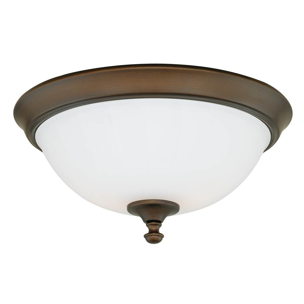 Vaxcel Claret 15-in W Bronze Flush Mount Ceiling Light Fixture White Glass