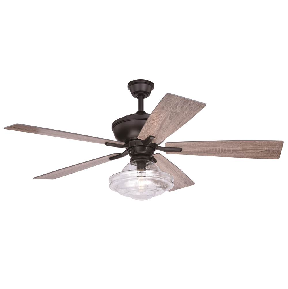 Vaxcel Huntley 52-in. Bronze Farmhouse Indoor Ceiling Fan with Schoolhouse LED Light Kit and Remote
