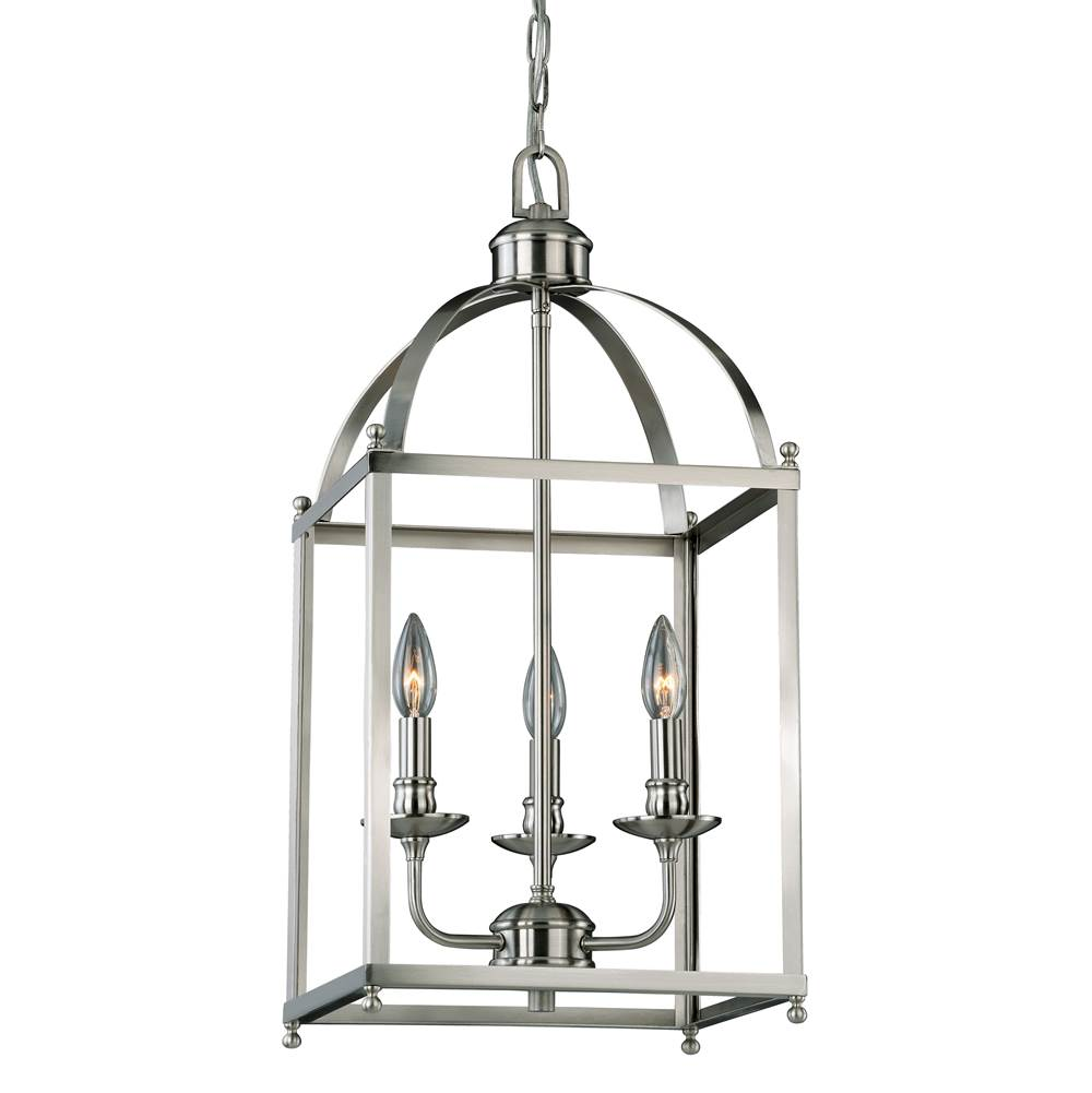 Vaxcel Juliet 3 Light Satin Nickel Lantern Candle Pendant