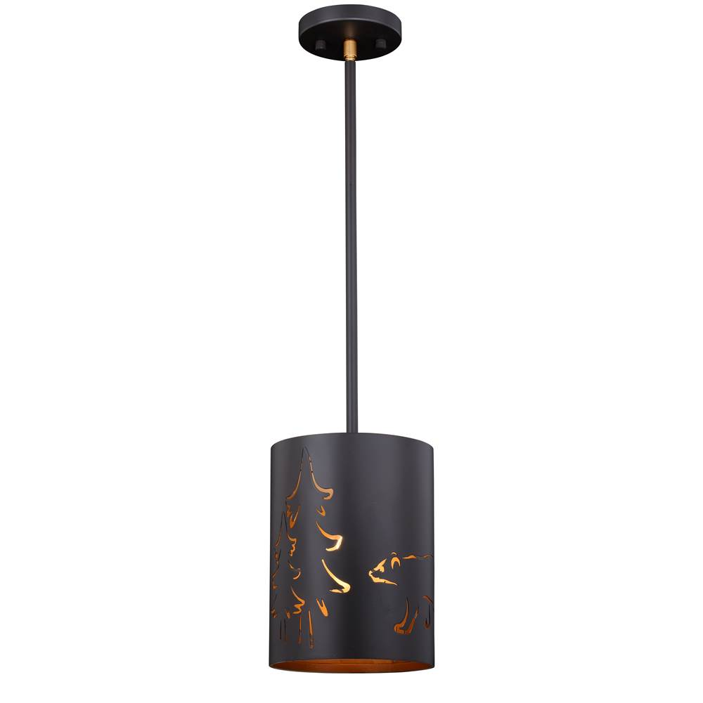 Vaxcel Katmai Bronze Rustic Bear Drum Mini Pendant Ceiling Light