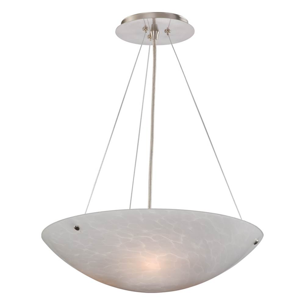 Vaxcel Milano 3 Light Satin Nickel Bowl Pendant White Glass