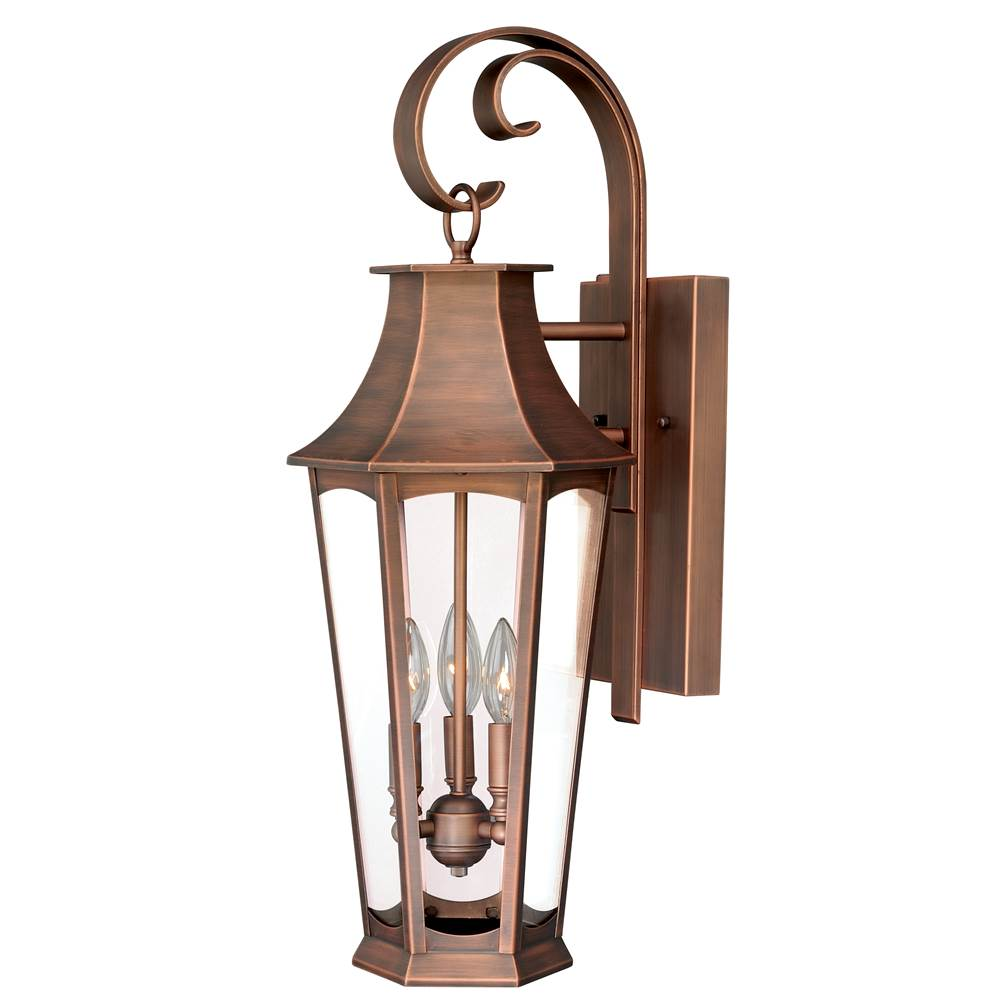 Vaxcel Preston 3 Light Dusk to Dawn Copper Empire Outdoor Wall Lantern Clear Glass